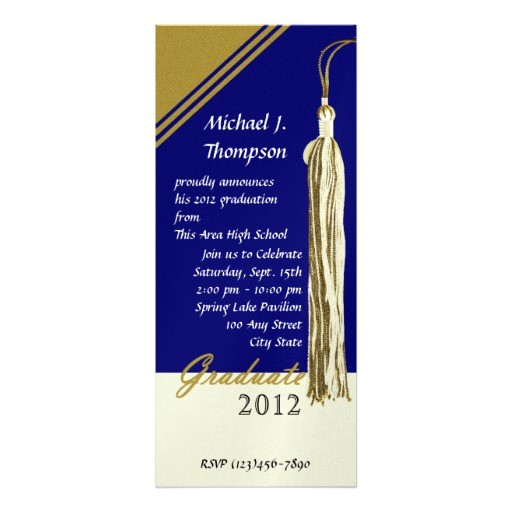 graduation tassel dark blue and gold invitation 161283392281270921