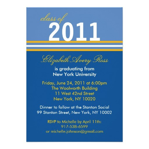 trendy blue gold stripe graduation invitations 161323107206554053