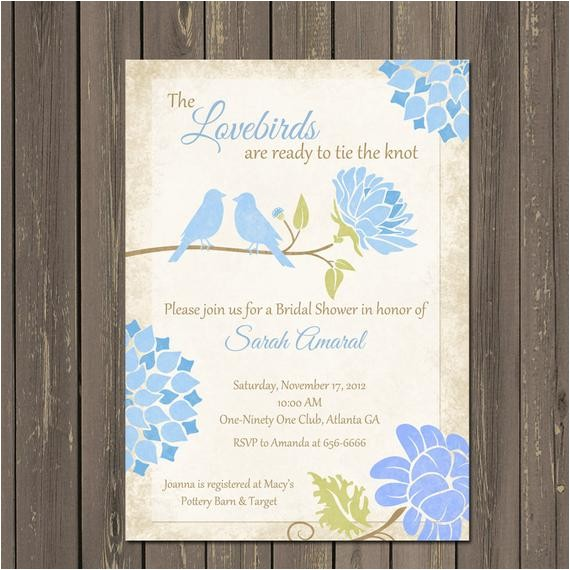 lovebirds light blue bridal shower invitations