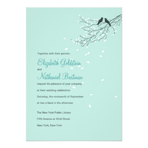love birds wedding invitation in blue 161890772332967877