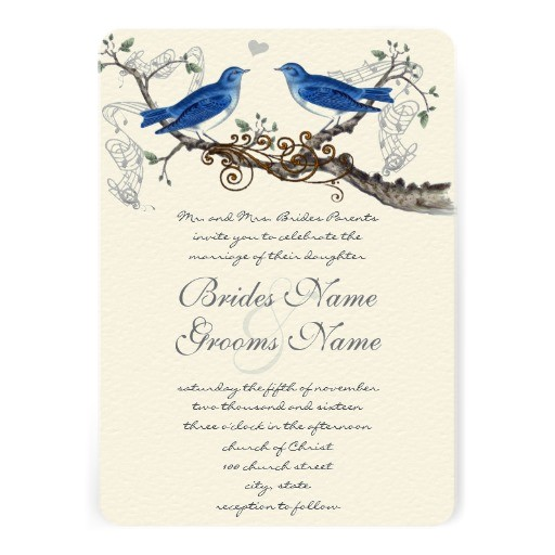 vintage blue birds wedding invitations 161004491082486131