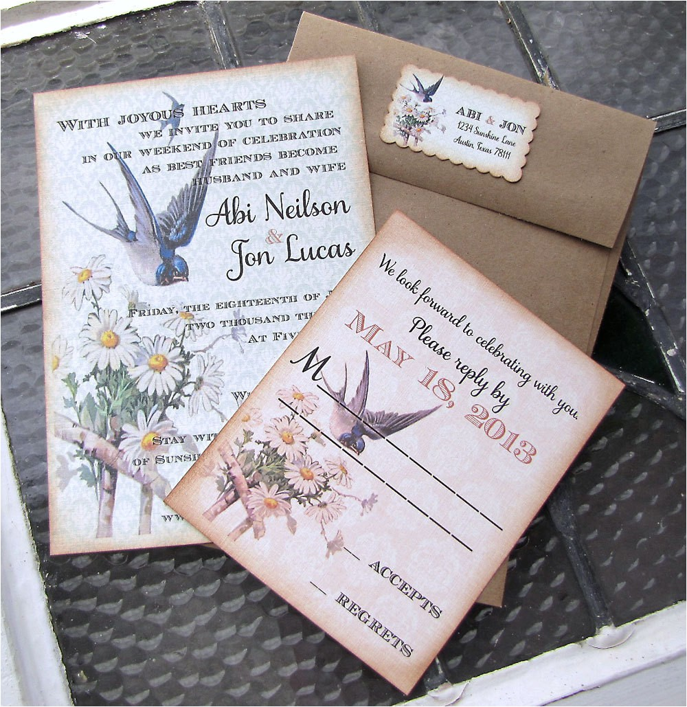 vintage wedding invitation blue bird of happiness garden wedding