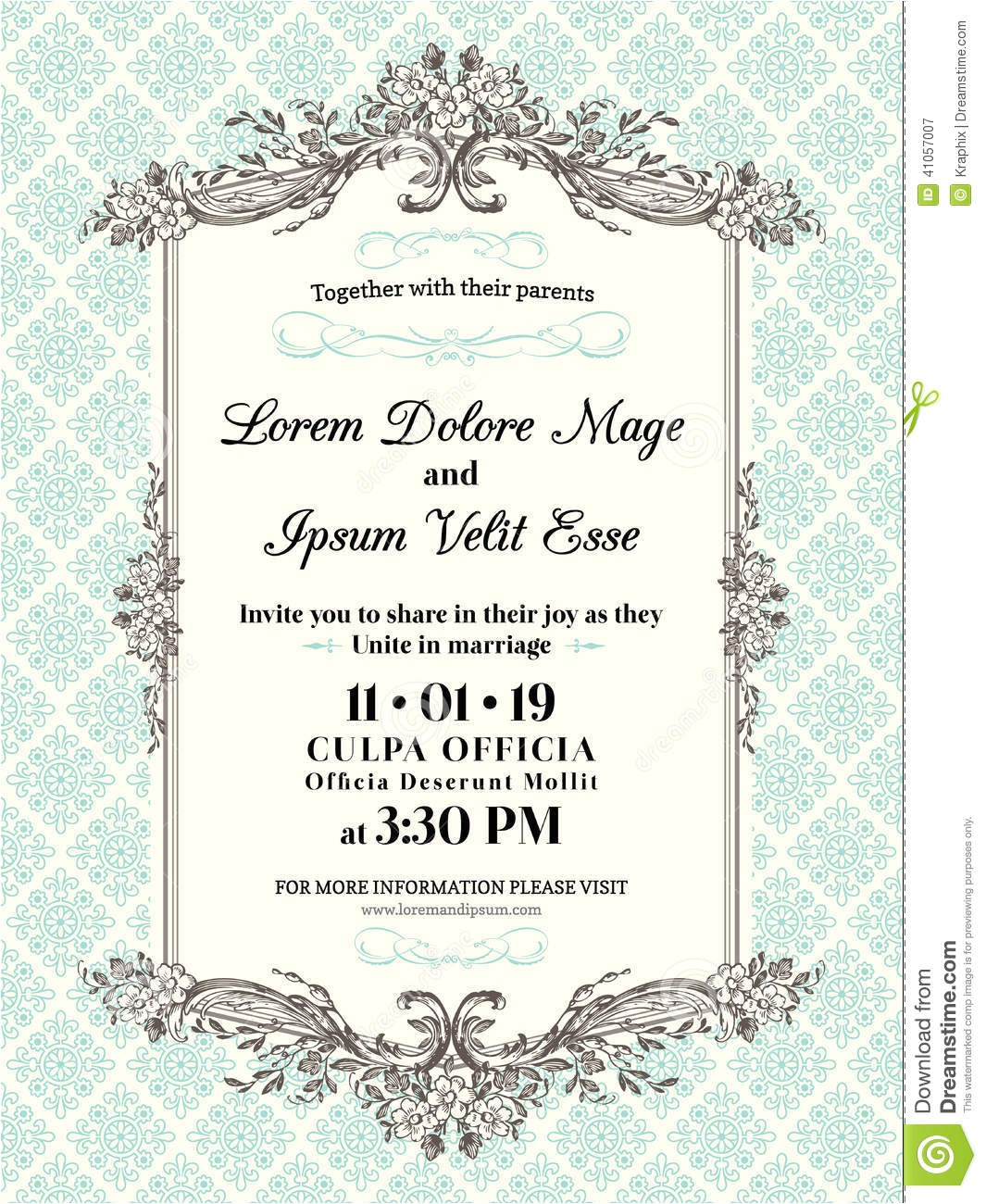 stock illustration vintage wedding invitation border frame template image41057007