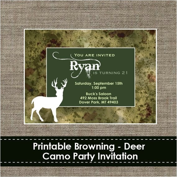 browning camo deer invitation diy