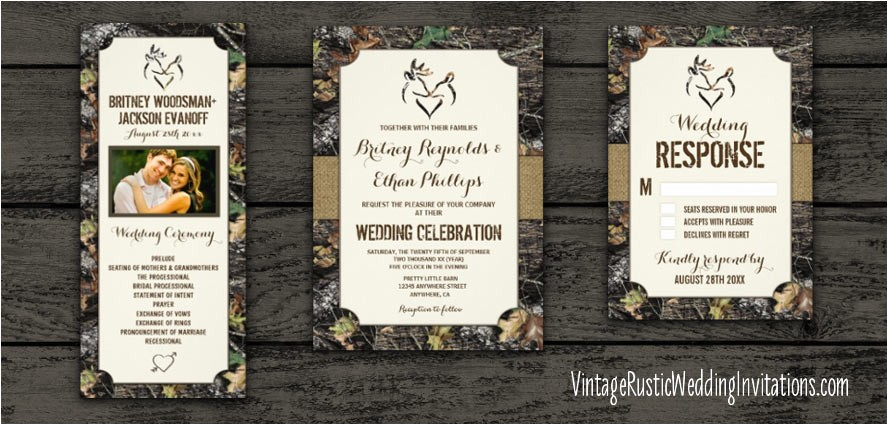 Browning Wedding Invitations Camouflage Browning Wedding Invitations Vintage Rustic Wedding Invitations
