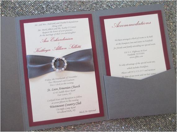 grey and burgundy pocket wedding