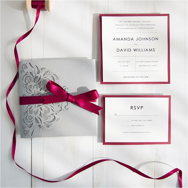 burgundy wedding ideas pocket wedding invitations laser cut wedding invitations