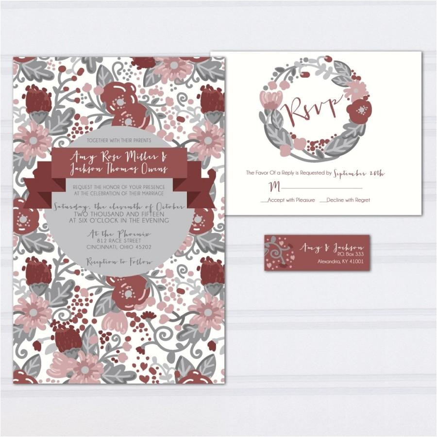 floral pattern wedding invitations marcala wine wedding invites burgundy and gray hipster doodle wedding stationery cheap invites