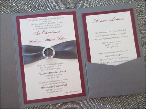Burgundy and Grey Wedding Invitations Grey and Burgundy Pocket Wedding Invitation Fall Rhinestone