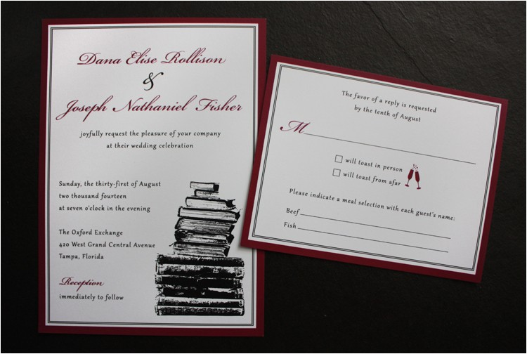 burgundy black white vintage book themed wedding invitations
