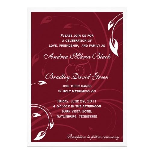 elegant burgundy white wedding invitation 161800853582041402
