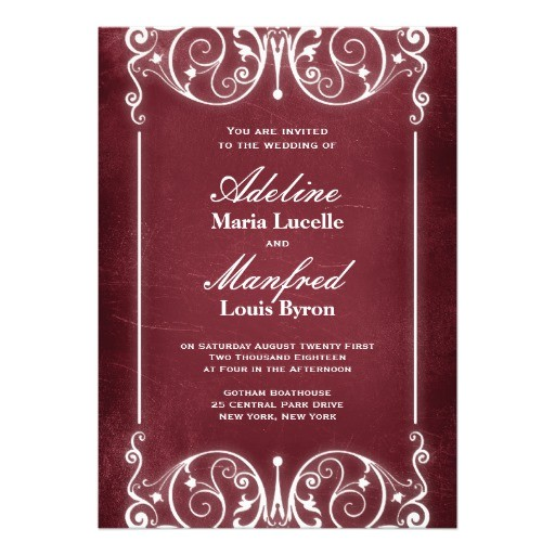 nouveau victorian burgundy white wedding invitation 161194917164238299
