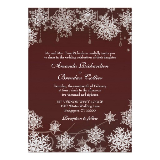 snowflake winter wedding burgundy red and white invitation 161271771196520398