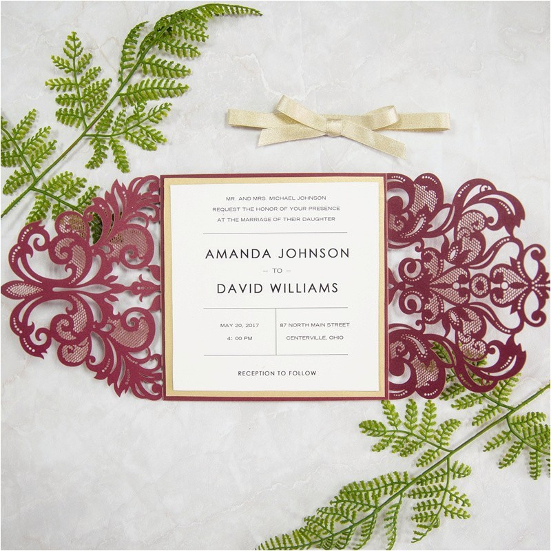 elegant burgundy and gold laser cut wedding invitations swws018