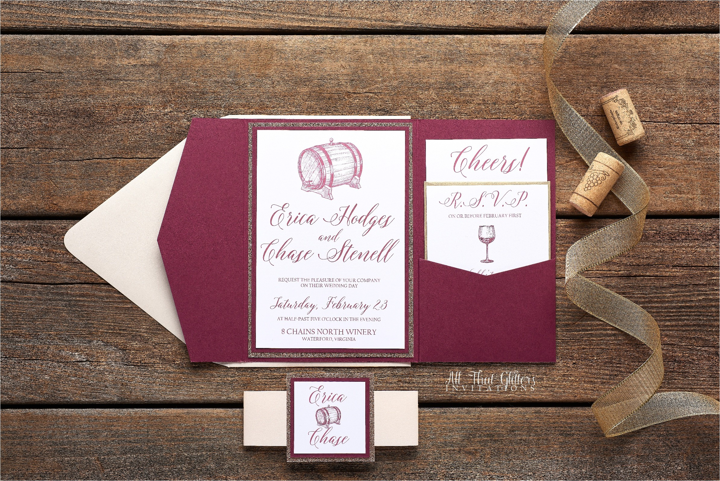 erica wine themed wedding invitation
