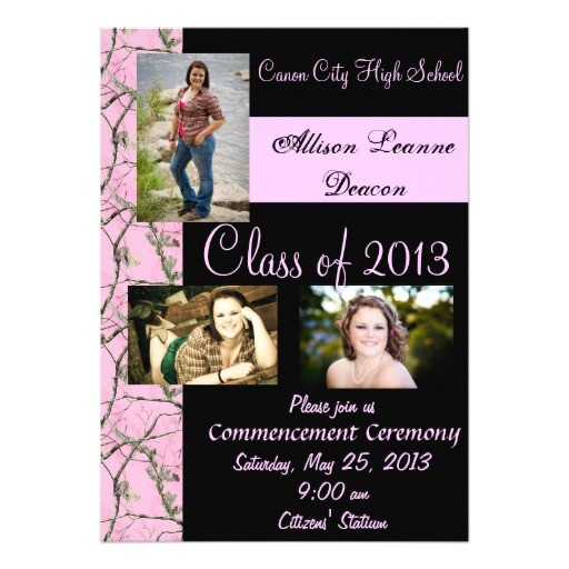 pink camo graduation announcement 161578894815433598