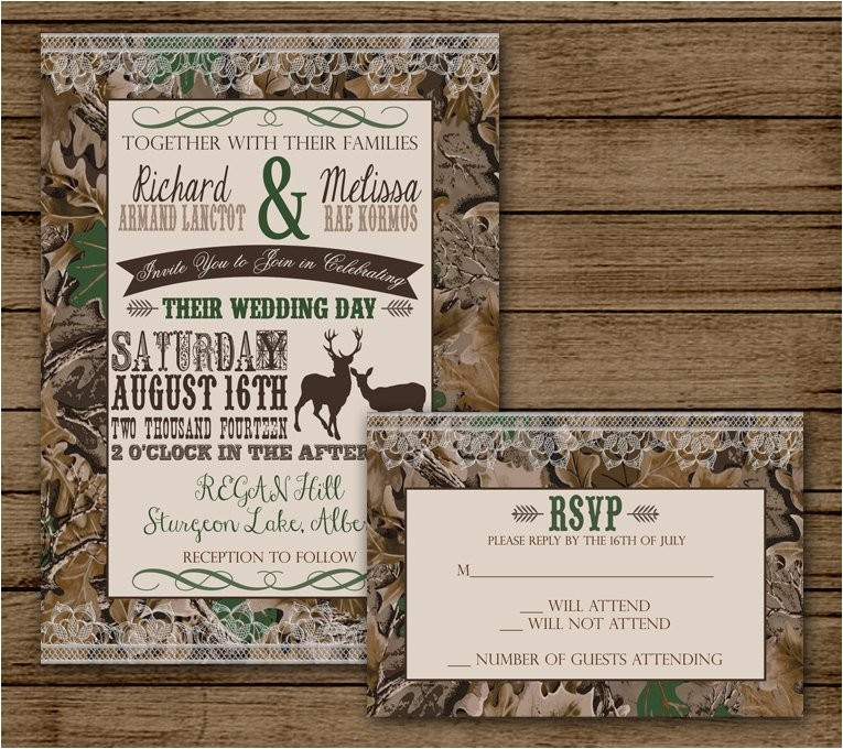 camo wedding invitation with rsvp camo