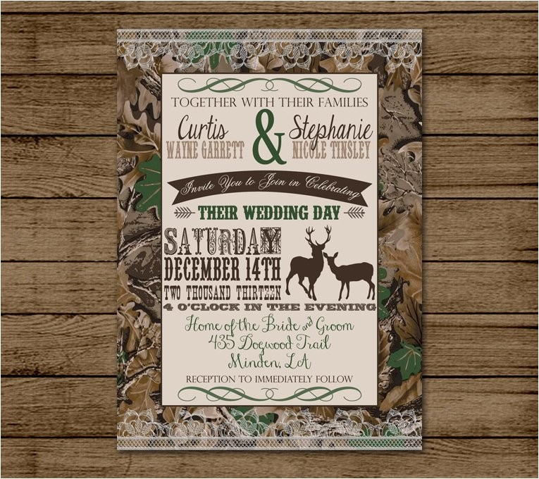 customized wedding invitation camo deer
