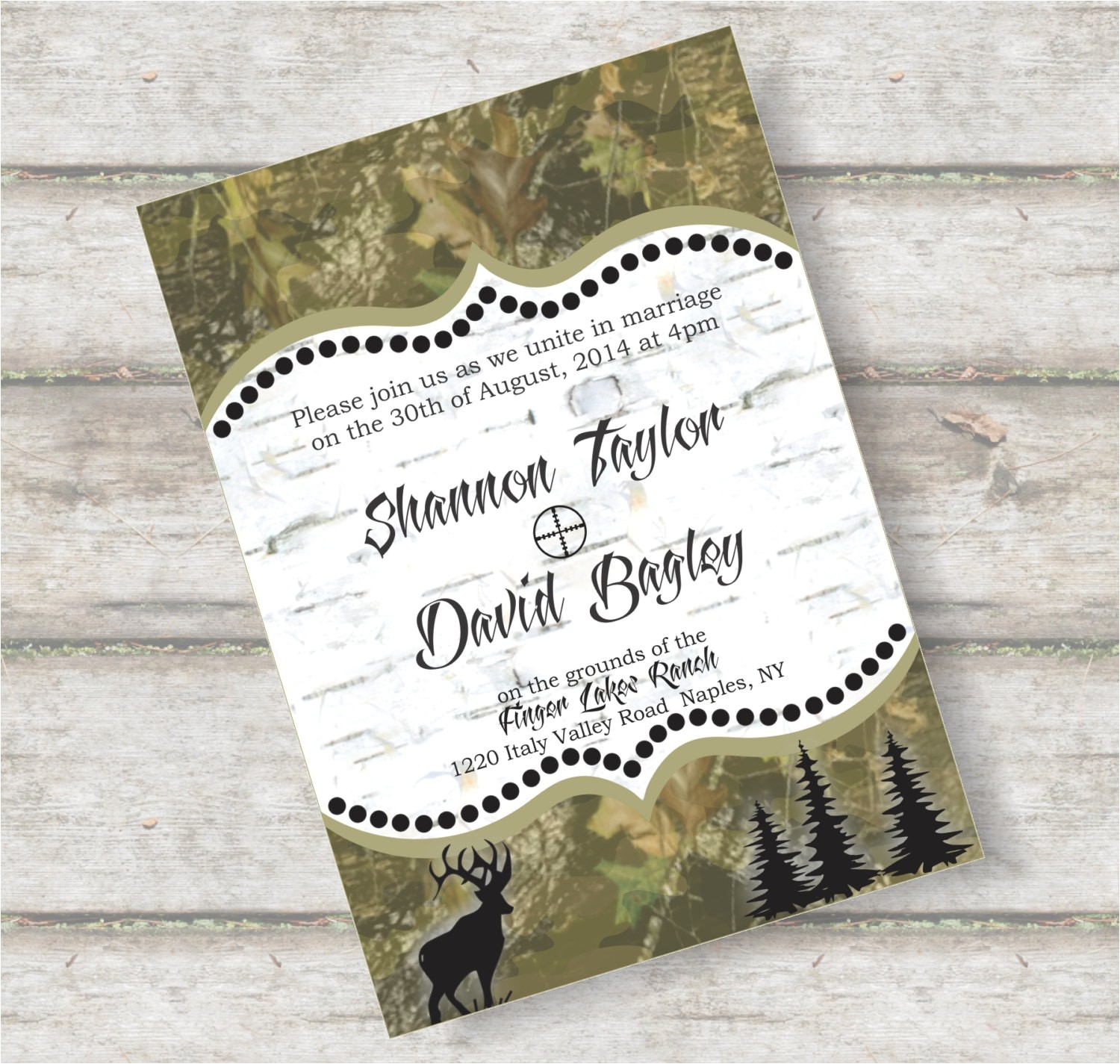 free camo wedding invitation templates