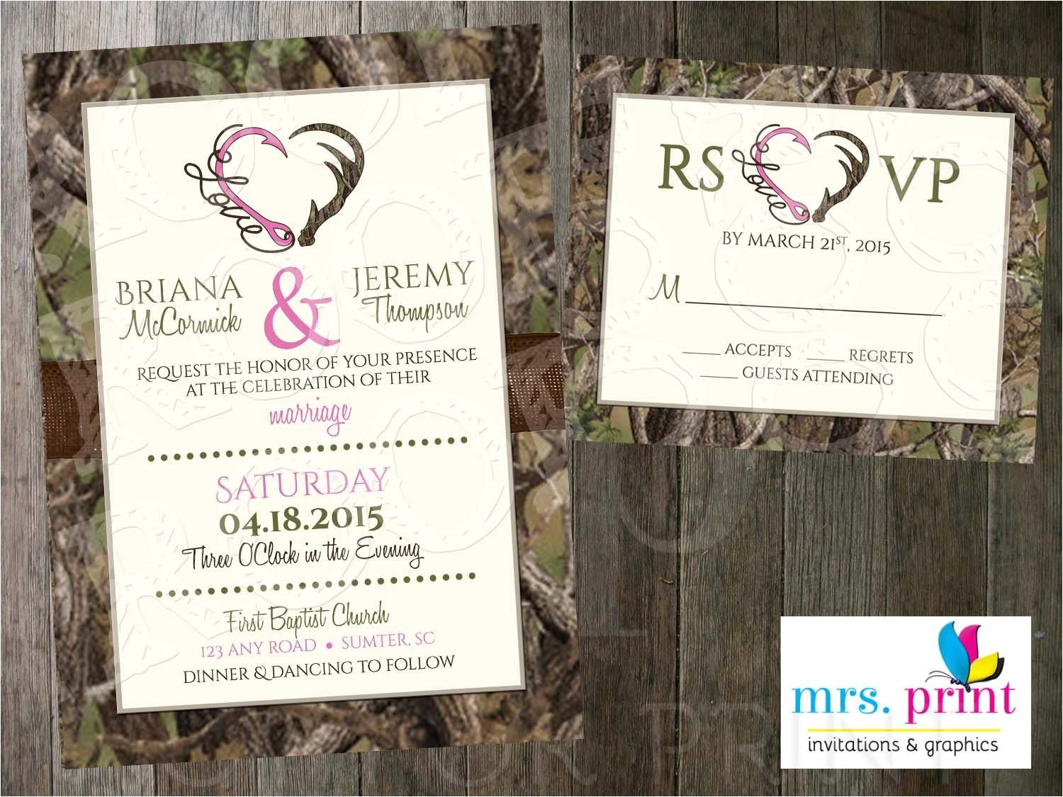 hooked on love camo wedding invitation