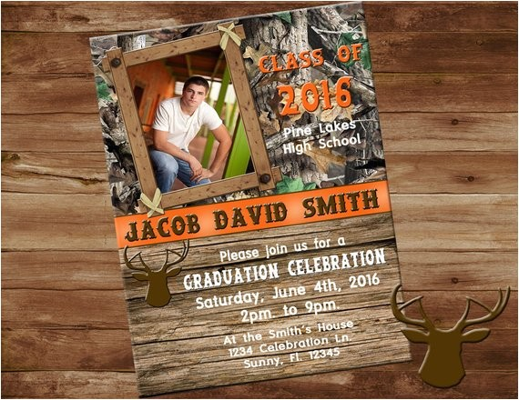 camo and orange graduation invitation