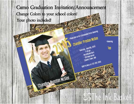 graduation invitation announcement camo