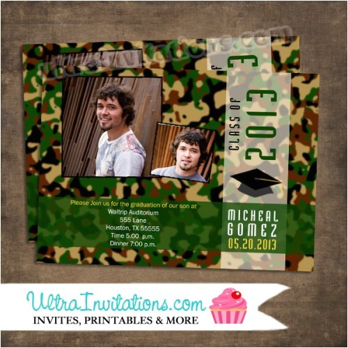 Camouflage Graduation Invitations Green Camouflage Graduation Invitations Printable or Prints