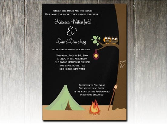 campground glamping wedding invitation design challenge
