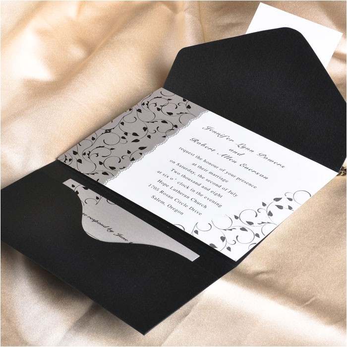 affordable black and white pocket wedding invitation cards ewpi025