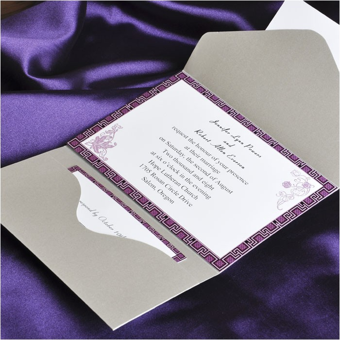 elegant purple and gray pocket wedding invitation cards ewpi027
