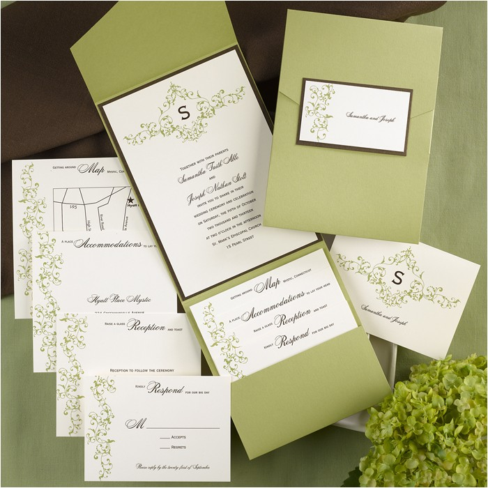 french vintage pocket wedding invitations