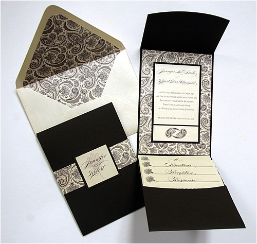 paisley floral coffee bean pocketfold invitation