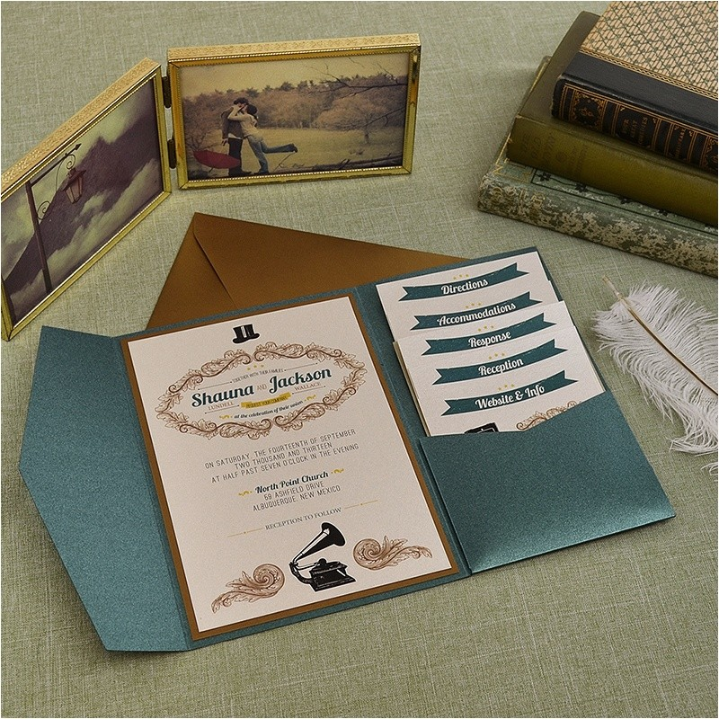 vintage emerald and antique gold wedding pocket invitation