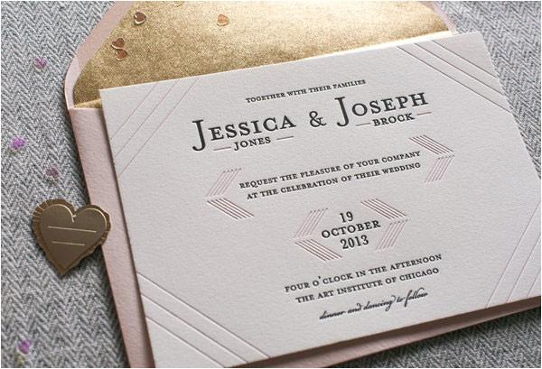 Cash Preferred Wedding Invitation Modern Linear Letterpress Wedding Invitations Invitation