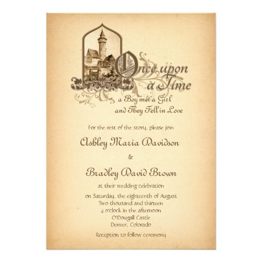 fairytale medieval castle once upon wedding invitation 161933713792847676