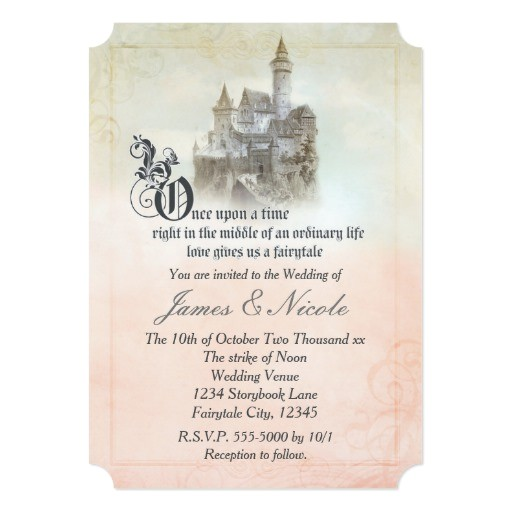 fairytale storybook page castle wedding invitation 256783016802494154