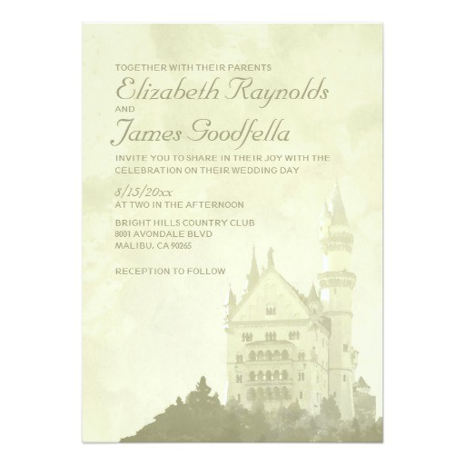whimsical fairytale castle wedding invitations 161108688965936712
