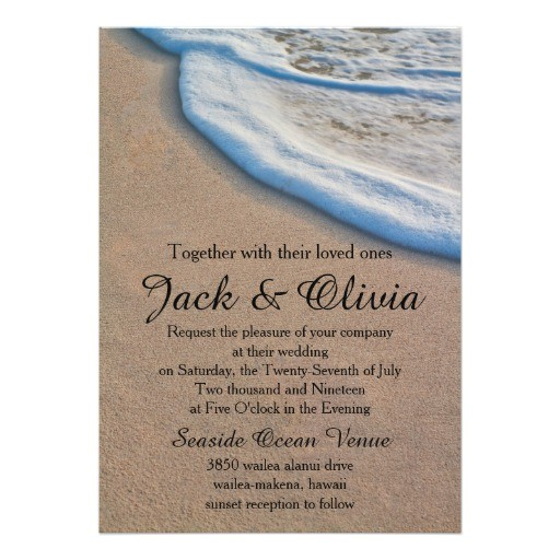 casual beach sand sea foam wedding 5x7 paper invitation card 256486582029898629