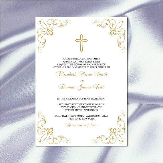 catholic wedding invitation template diy