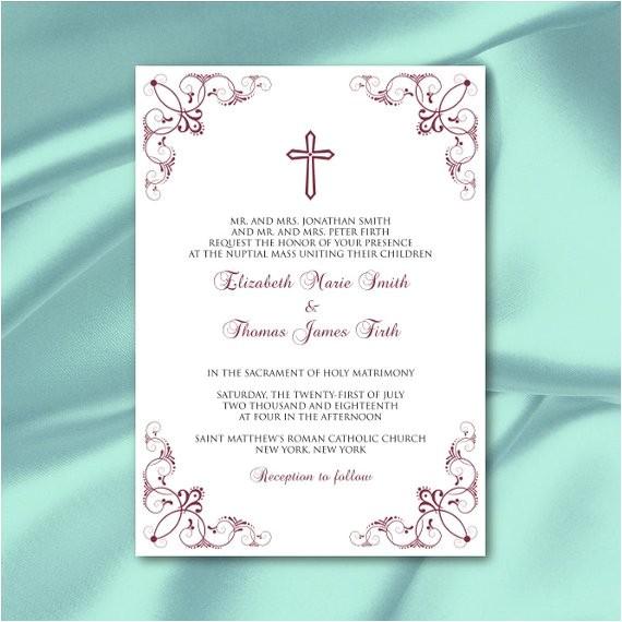 catholic wedding invitation template diy