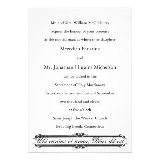 wedding invitation wording catholic mass