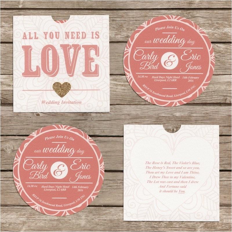 cardboard disc cd wedding invitation