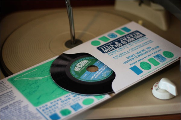 vinyl album style wedding invitations