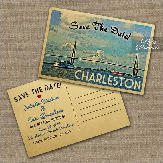 charleston wedding invitation printable