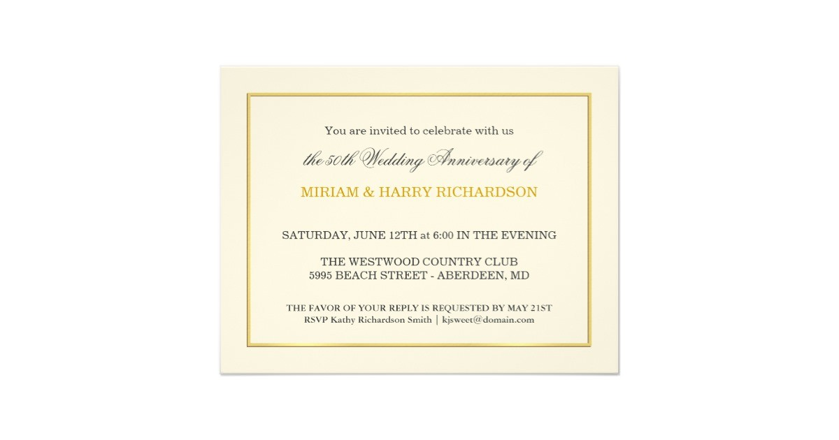 50th wedding anniversary inexpensive invitations 161106341056164554
