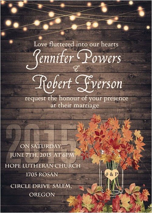 invitation for fall and autumn wedding