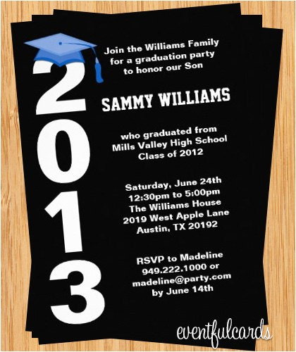 best applied graduation invitations cards celebrating high school student black color background white font wording