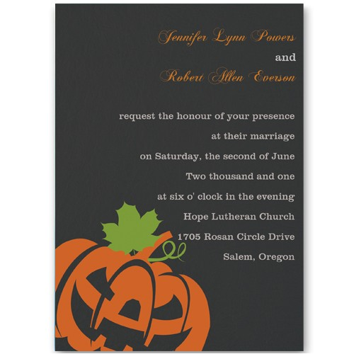 black and orange halloween fall wedding invitations ewi242