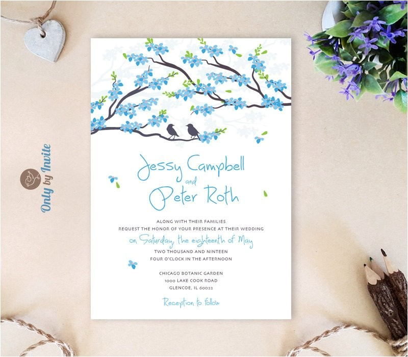 blue wedding invitations cheap love bird