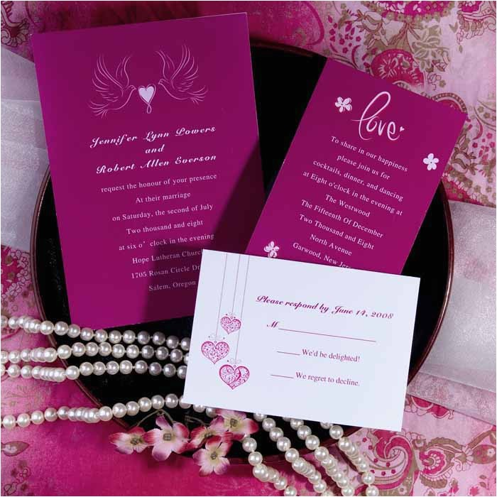 elegant hot pink love birds and heart wedding invitations ewi176